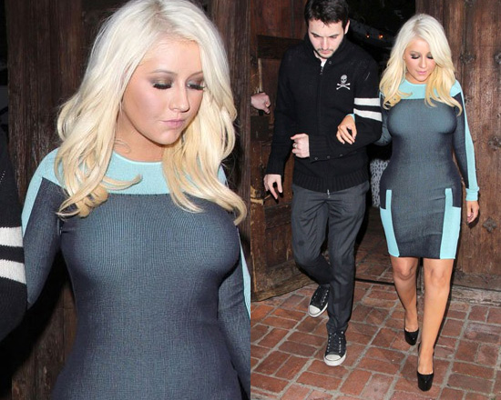Christina Aguilera in Alexander Wang Engineered Track Suit Dress