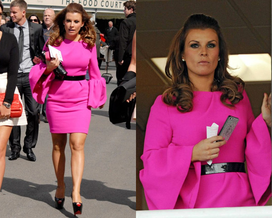 Coleen Rooney in Roksanda Ilincic Hot Pink Crepe Wool Dress