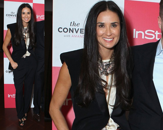 Demi Moore in Lanvin Sandy Crepe Jacket and Silk Top