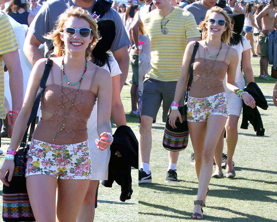 Emma Roberts wearing Nightcap Clothing Diamond Crochet Bodysuit at Coachella 2012