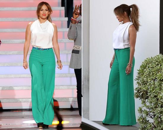 Jennifer Lopez wearing Milly Hayden Pintuck Trousers on American Idol