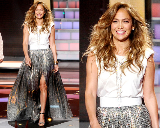 Jennifer Lopez wearing Lanvin Printed silk-blend lamé maxi skirt and Lanvin Viscose Jersey Top