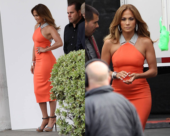 Jennifer Lopez arriving for American Idol in Victoria Beckham Tangerine Stretch-crepe Dress