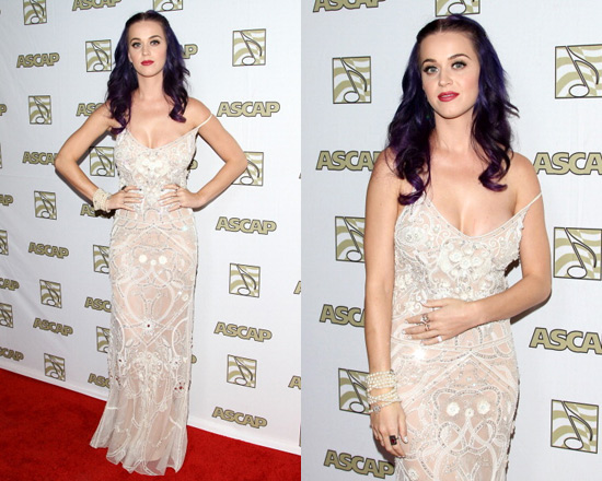 Katy Perry in Temperley London Long Paneled Scarlet Show Dress