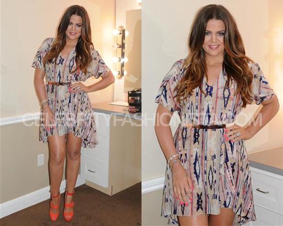 Khloé Kardashian in Tucker Cascade Mini Dress