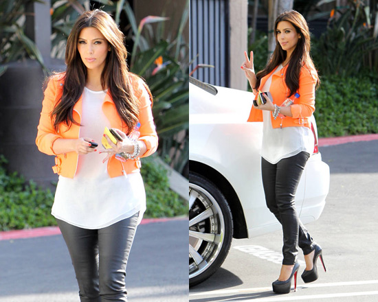 kim-kardashian-Christopher-Kane-Neon-wool-blend-crepe-biker-jacket
