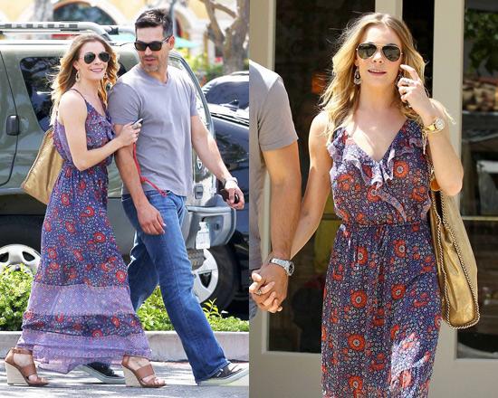 LeAnn Rimes wearing Joie Delia Maxi Dress and Michael Kors Eliza Wedge Sandals