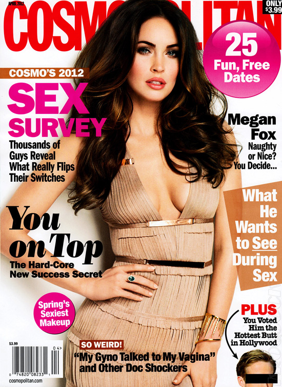 Megan Fox covers Cosmopolitan April 2012 issue wearing Herve Leger Fringe Bandage Dress