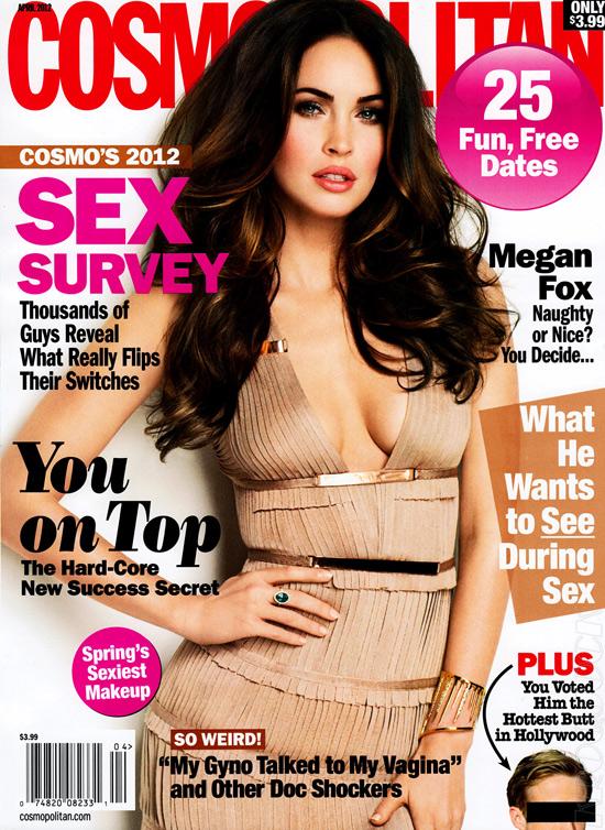 Megan Fox covers Cosmopolitan April 2012 issue wearing Herve Leger Fringe Bandage Dress