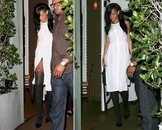 Rihanna looking cute in Topshop Button Front Midi Dress