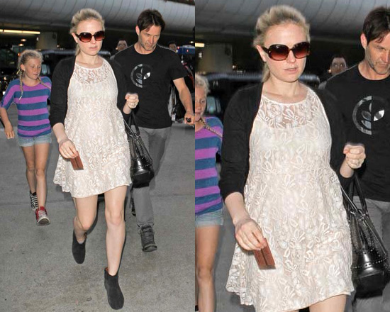 Anna Paquin in Free People Floral Lace Babydoll Dress