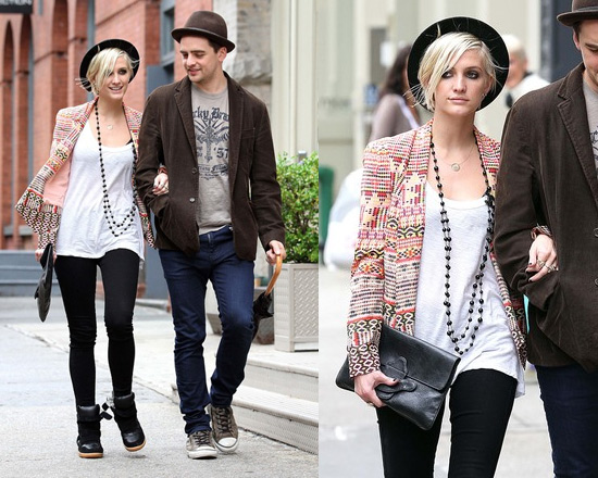 Ashlee Simpson wearing Rebecca Minkoff Becky Printed Jacket out and about in New York