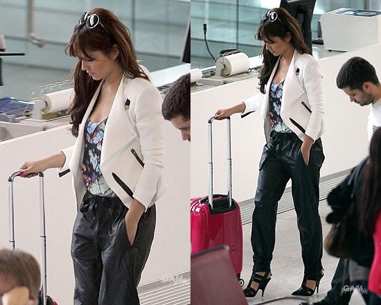 Cheryl Cole wearing Helmut Lang Sugar Crepe Jacket and Alexander Wang Danica High Heel Wedges
