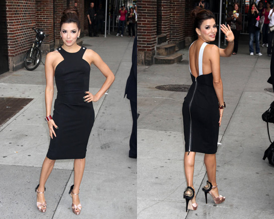 Eva Longoria in Victoria Beckham Stretch-crepe cutaway dress