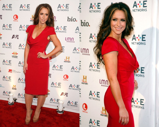 Jennifer Love Hewitt in Alexander McQueen Cowl-Neck Dress