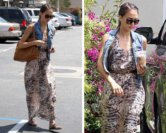 Jessica Alba in Heartloom Anthea Maxi Dress