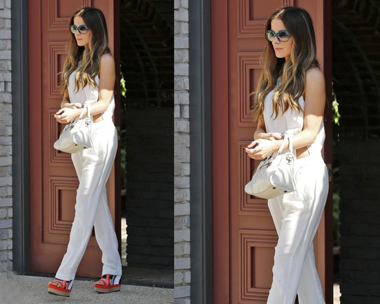 Kate Beckinsale at Memorial Day party wearing A.L.C. Italian Crepe Jumpsuit