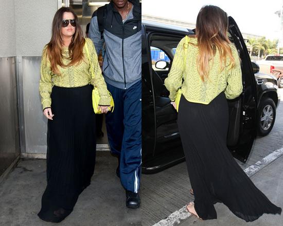 khloe-kardashian-ALC-Pleated-crepe-maxi-skirt