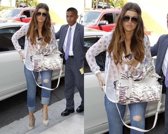 Khloe Kardashian wearing Dion Lee Print Mobius Shirt
