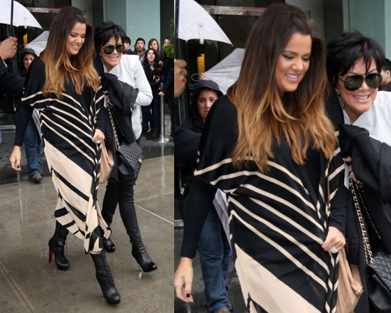 Khloe Kardashian wearing Haute Hippie Long Silk Cardigan
