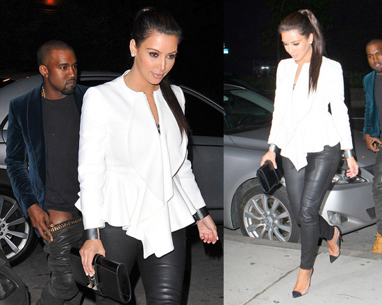 Kim Kardashian in Givenchy flared jacket and Un Bout Christian Louboutins