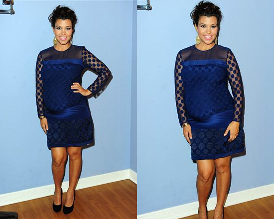 Kourtney Kardashian on Jay Leno wearing Diane Von Furstenberg Enny Dress