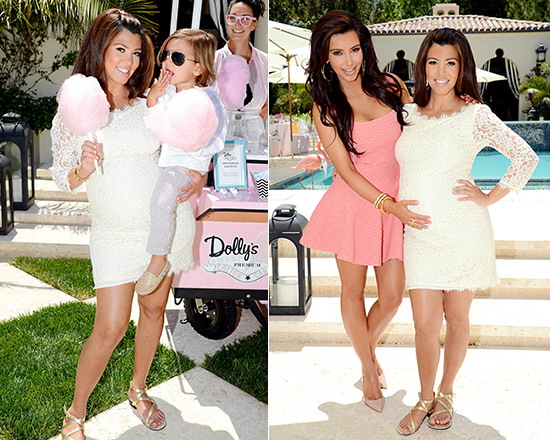 Kourtney Kardashian wearing Diane von Furstenberg New Zarita Lace Dress at her Baby Shower