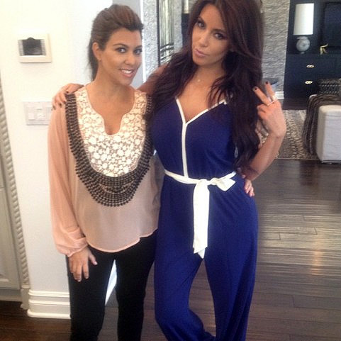 Kourtney Kardashian in K-DASH by Kardashian Sheer Blouse with Crochet Detail