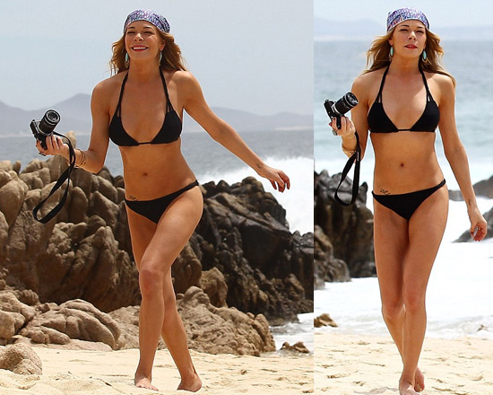 LeAnn Rimes in Mexico wearing Mikoh Martinique Bikini