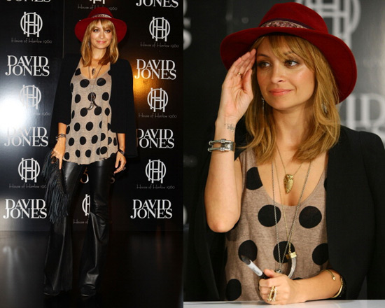 Nicole Richie wearing Enza Costa Linen Tank and Winter Kate Leather Flare Pants