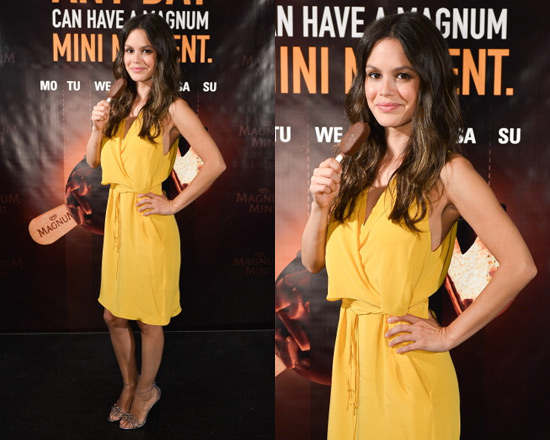 Rachel Bilson promoting Magnum Mini in 3.1 Phillip Lim Wrap Around Dress