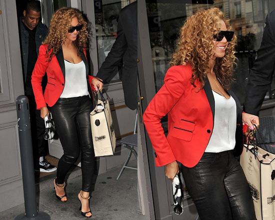 Beyonce wearing DSQUARED2 Red Smoking Blazer in Paris