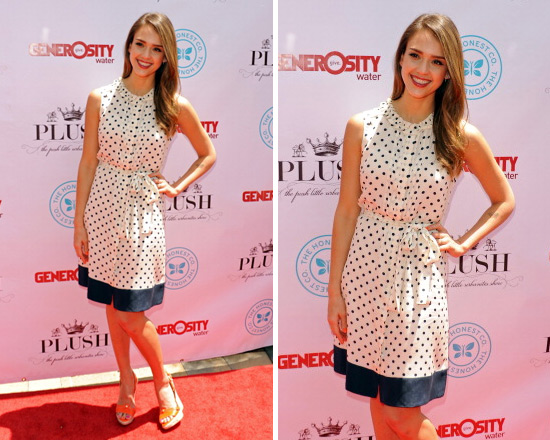 Jessica Alba attends Plush Event wearing Tory Burch Polka Dot Dress