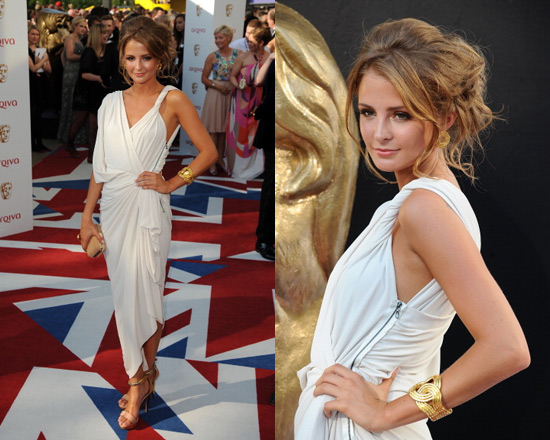 Millie Mackintosh in Lanvin Grecian Dress and Leather Suede and Wood Sandals