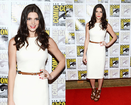 Ashley Greene in Michael Kors Belted Bouclé Crepe Dress