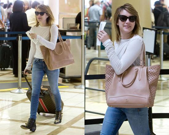 Emma Roberts wearing Chloé Susanna Studded Buckle Boots
