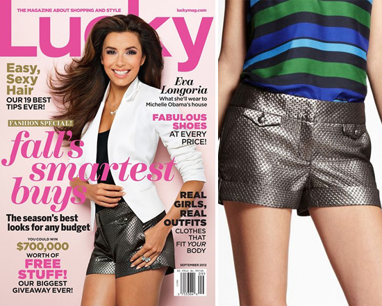 eva-longoria-Jacquard-Flap-Pocket-Shorts