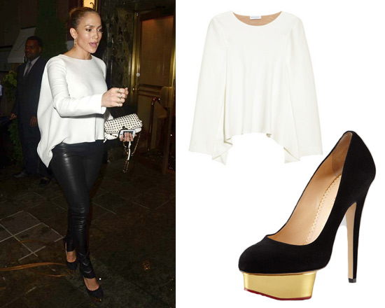 Jennifer Lopez wearing Vionnet Draped Back Crepe Top