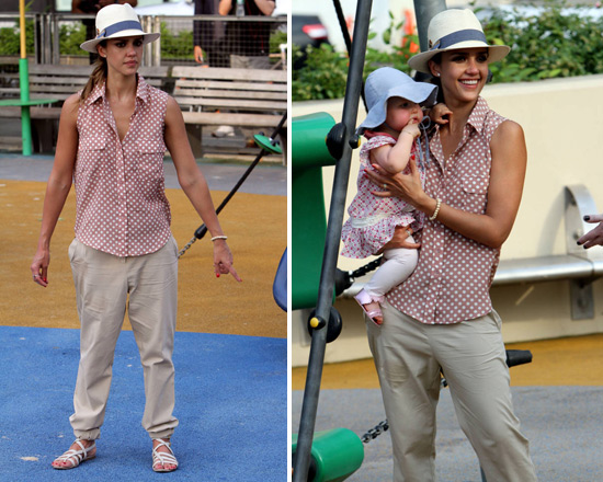 Jessica Alba in Lovers + Friends Boyfriend Button Down