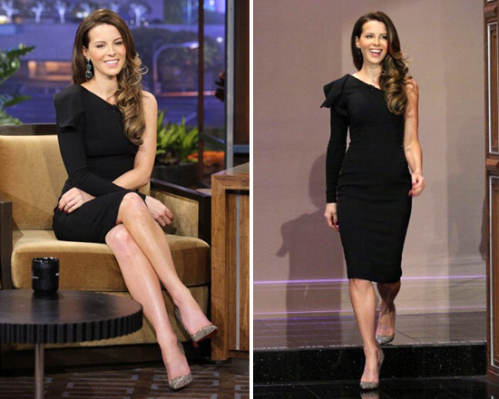 Kate Beckinsale wears Elie Saab One-Sleeve Dress on The Tonight Show