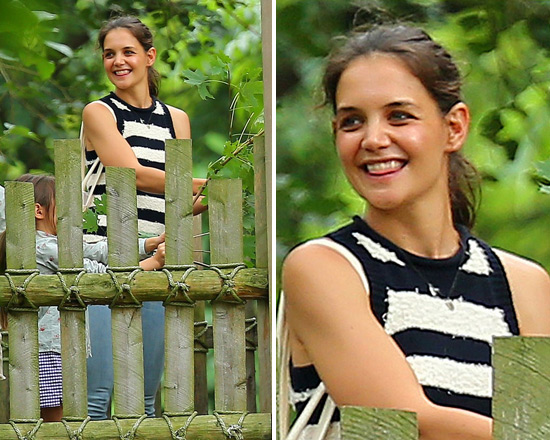 Katie Holmes in 10 Crosby by Derek Lam Striped Racer Tank