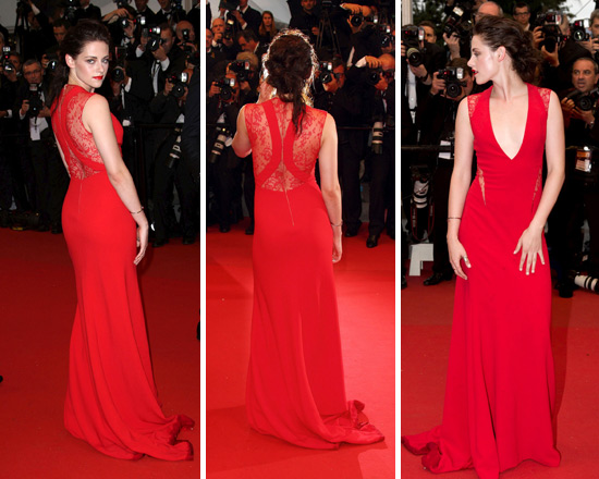 Kristen Stewart in Reem Acra Deep V Gown with Lace Trim at Cannes Film Festival