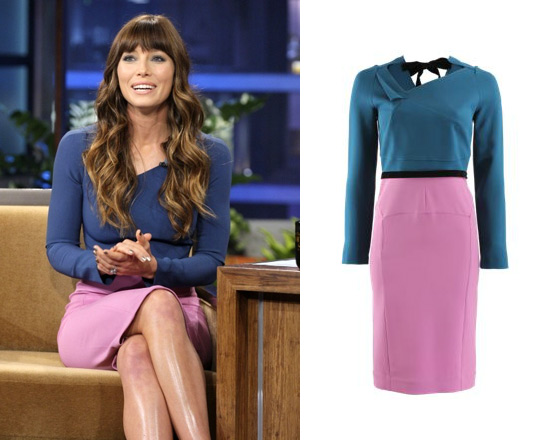 Jessica Biel in Roland Mouret Angel Dress on The Tonight Show