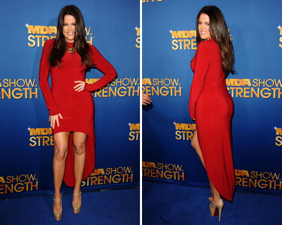 Khloe Kardashian in Norma Kamali Super High Low Dress