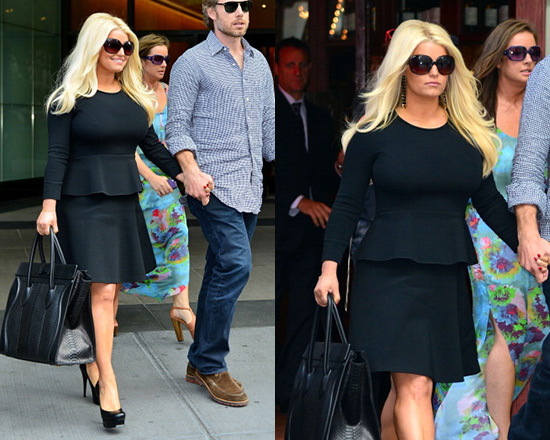 Jessica Simpson in Roland Mouret Crepe dress with Peplum Waist