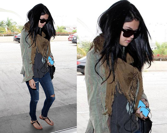 Selena Gomez in Free People Variegated Cord Buttondown and Dreamcatcher Tank