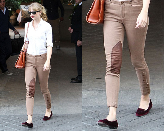 Taylor Swift steps out in Ralph Lauren Stretch Twill Jodhpur Pants