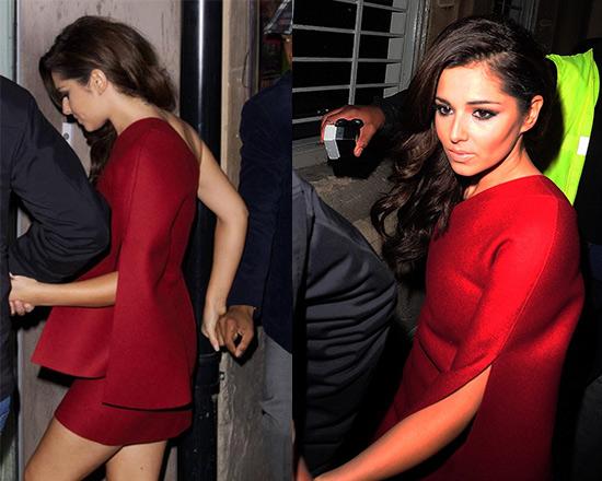 Cheryl Cole in Jay Ahr Asymmetric Wool-felt Mini Dress