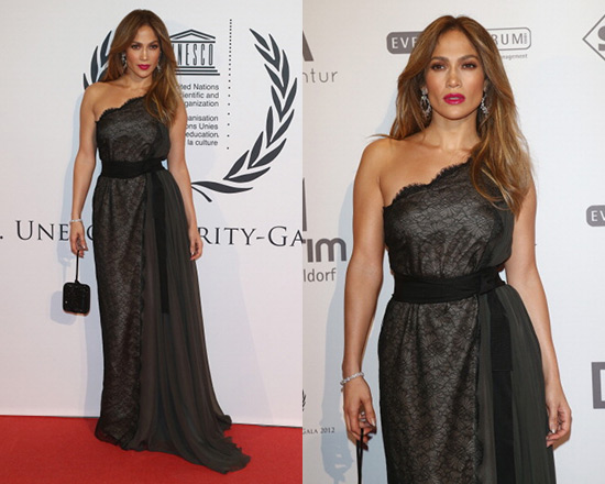 Jennifer Lopez in Lanvin Chantilly Lace One-Shouldered Gown