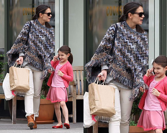 Katie Holmes in Missoni Heavy Yarn Zigzag Poncho and Isabel Marant Marso Jeans